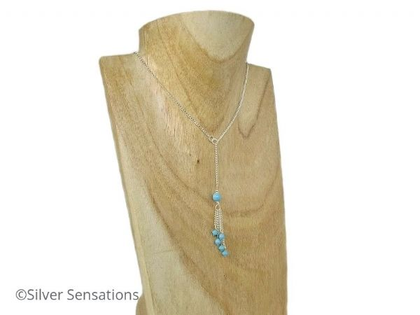 Unique Turquoise Blue Swarovski Pearls, Crystals & Sterling Silver Curb Chain Lariat Necklace | Silver Sensations